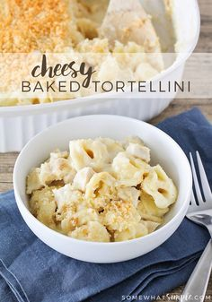 Cheesy baked tortellini - tender tortellini tossed with homemade cheese sauce and baked to cheesy gooey perfection. A hearty and delicious dinner! via @somewhatsimple
