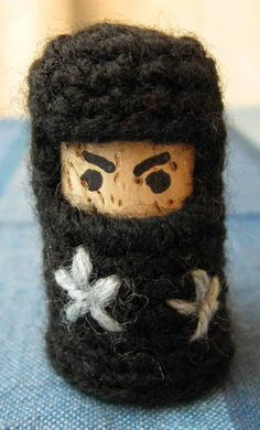 teeny tiny knit wine cork ninjas this website has it all nights monsters all made out of wine corks!