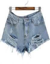 Blue Mid Waist Ripped Denim Short $31.45