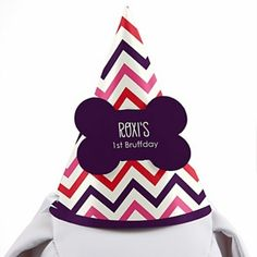 Pink and Purple Chevron Dog Birthday Party Hat