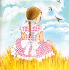 """Golden Book About God, Eloise Wilkin, 1956- Wheat    from """"My Little Golden Book About God"""", Little Golden Book,  1956/1975by Jane Werner WatsonIllustrations by Eloise WilkinWheat field and sky"""