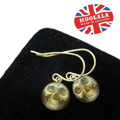 Sterling Silver 925 Victorian Memento Mori Skull Charm Earrings by hoolala, $38.00