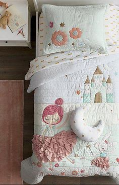Our Ballerina Bedding is ready to dance and twirl into the nearest kids room. The dreamy quilt features princess and bunny ballerinas, plus an enchanting castle in the background. It's adorned with appliqued, embroidered and velvet accents for a graceful Girl Bedroom Designs, Girls Bedroom, Bedroom Decor, Bedroom Ideas, Ballerina Bedroom, Twin Sheets, Kids Sheets, Little Girl Rooms, Little Girls Bedding Sets