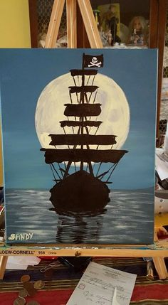 Disney Paintings, Ship Paintings, Simple Acrylic Paintings, Acrylic Art, Pirate Ship Painting, Pirate Ship Drawing, Pirate Art, Pirate Ships, Pirate Crafts