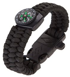CCJJ  9 Paracord Survival Bracelet Camping Compass Flint Fire >>> You can get more details by clicking on the image.
