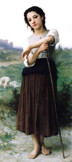Jeune Bergère Debout    By:William Adolphe Bouguereau