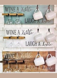 This Wine A Little, Laugh A Latte coffee cup holder and wine glass rack is the perfect way to make any space just a little more welcoming. Hang it in a kitchen or dining room or give as a gift to the wine lover or coffee lover on your list.  Home decor, farmhouse decor, Kitchen sign, rustic sign, rustic decor, coffee bar sign, gift idea, farmhouse sign #ad