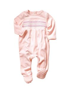 Baby Girl's Embroidered Cotton Sleepsuit