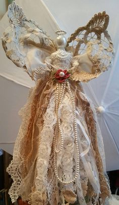 Items similar to Angel, Fabric tattered lace tassel, rag dress. on Etsy Christmas Angel Crafts, Wooden Christmas Crafts, Handmade Christmas Decorations, Christmas Ornaments To Make, Christmas Mantels, Angel Ornaments, Christmas Tree Toppers, Ornaments Ideas, Fabric Ornaments