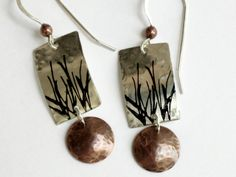 Sterling silver and copper with grass stamp