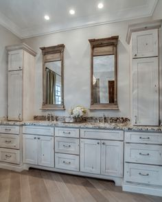 Love These White Washed Cabinets For Bathroom And Kitchen
