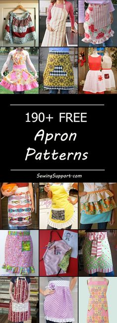 Lots of free apron sewing patterns, tutorials, and diy projects. Full, half, and waist aprons, simple and easy basic aprons, chef, hostess, cafe, and kitchen aprons, for adults and kids. Cute ruffle aprons. How to make an apron. #apronpattern