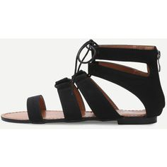 Black Peep Toe Caged Cut Out Gladiator Sandals
