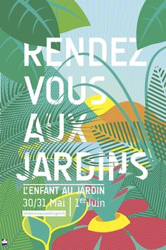 PosterRDV in den Gärten - Vivier de Serres auf - Graphisches Design - Design Graphic Design Posters, Graphic Design Typography, Graphic Design Illustration, Graphic Design Inspiration, Creative Inspiration, Cover Design, Graphisches Design, Layout Design, Plant Design