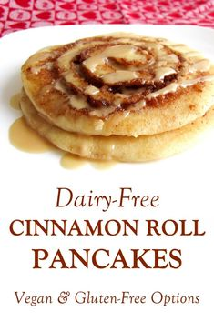 pancake recipe Dairy-Free Cinnamon Roll Pancakes Recipe with Maple Glaze, Gluten-Free and Vegan Options Pancakes Végétaliens, Dairy Free Pancakes, Cinnamon Roll Pancakes, Dairy Free Eggs, Souffle Pancakes, Donut Flavors, Dairy Free Breakfasts, Bon Dessert, No Dairy Recipes