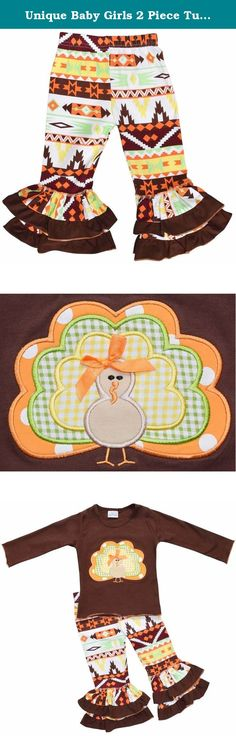 Unique Baby Girls 2 Piece Turkey Fall Colors Thanksgiving Legging Set (6). These boutique style Thanksgiving outfits are perfect for your little girl's Fall and Thanksgiving wardrobe. This set features an aztecan pattern on the leggings with a perfectly matching long sleeve top. The top features a cute turkey applique that completes the look! A versatile outfit that is perfect anytime in Fall - great for family photo shoots, the pumpkin patch or for Thanksgiving day! Made of a 97% high...