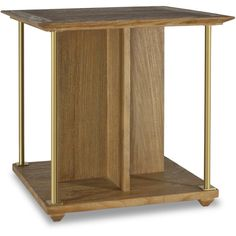 Delaney Modern Classic Brown Teak Brass Side End Table (145015 ALL) ❤ liked on Polyvore featuring home, furniture, tables, accent tables, contemporary furniture, teak table, contemporary end tables, contemporary accent tables and brown furniture