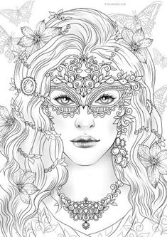 Mask Printable Adult Coloring Page from Favoreads Coloring | Etsy