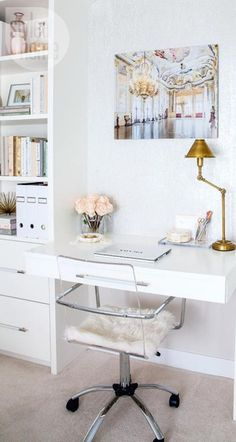 Blush pink, white, and gold office space... love the single and elegant print above the desk!!