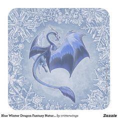 Blue Winter Dragon Fantasy Nature Art Square Paper Coaster