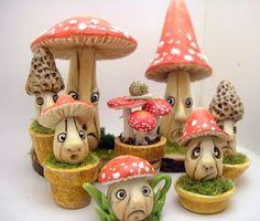 by CDHM Artisan Loredana Tonetti of Lory's Tiny Creations, www.cdhm.org/user/64tnt, Whimsical Mushrooms in 1:12 dollhouse miniature scale.