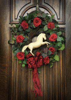 Buy here: www.etsy.com/shop/horsewreaths. Cheryl B Van Winkle, Designer, Equestrian Red Rose White Horse Wreath