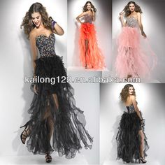 Cute Sweetheart Neckline Ruffled High Low Colorful Beaded Corset Black Pink Orange Organza Short Front Long Back Prom Dress on AliExpress.com. $167.00