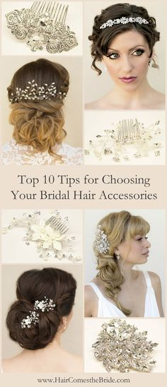 Expert advice for choosing the perfect wedding day bridal hair accessories (and jewelry) to compliment your personal style and complete your wedding day look! Hairdo Wedding, Wedding Hair And Makeup, Wedding Beauty, Hair Makeup, Wedding Day, Wedding Stuff, Dream Wedding, Wedding Wishes, Wedding Decor