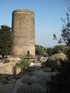 Maiden Tower (Gis Galasii), Baku, Azerbaijan. So named on various loose versions of tales of a young virginal maiden who was imprisoned in the tower by a powerful Khan, and rather than remain imprisoned, she threw herself off the tower.