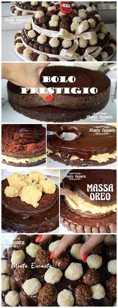 Para tudo para esse bolo de prestigio é MARAAAAAVILHOSO!    Imagina, bolo negão de chocolate super fofo, recheado com recheio de prestígio, coberto por uma incrível ganache de chocolate e ele todinho  decorado por chocolates de  prestigio e brigacakes mais  brigadeiros