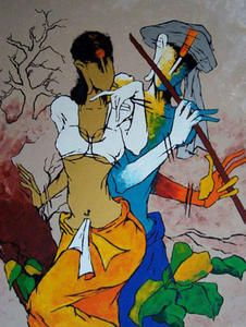 Abstract Paintings: Abstract Painting Of Lord Krishna Art Critique, Indian Contemporary Art, Indian Folk Art, Krishna Painting, India Art, Indian Art Paintings, Elephant Art, Famous Art, Om Namah Shivaya