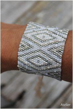 Bead Bracelet Boho Cream Nude & Silver Metallic Tones