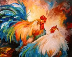 """Rooster & Hen"" par Marcia Baldwin"