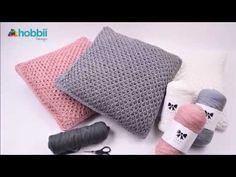 Tunesisk hækling - netmønster - puder - YouTube