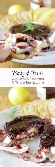 An easy baked brie recipe with fresh lemon zest, rosemary, and triple berry jam that you can fix in 15 minutes or less when you need a quick appetizer or snack to impress guests! #FruitandHoney #sponsored