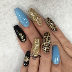 Cheetah Coffin Nails with Gold and Black. The combination of glossy blue, glittered gold, studded black and cheetah nails is the one to try, if you are looking for something extraordinary. Dope Nails, Glam Nails, Fancy Nails, Beauty Nails, Fabulous Nails, Gorgeous Nails, Pretty Nails, Hair And Nails, My Nails