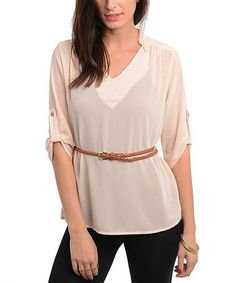 Take a look at this Peach Sheer Belted Tunic by Buy in America on #zulily today!