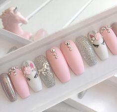 Nails pink Pink unicorn press on false nails stiletto nails short coffin Fake nails Acrylic nails gel nails holographic short nails Elegant Touch Nails, Nagellack Design, Nagel Gel, Super Nails, Holographic Nails, Stiletto Nails, Coffin Nails, Pink Coffin, Gorgeous Nails