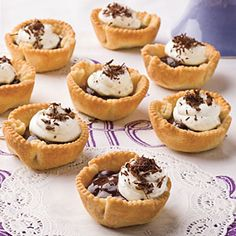 Chocolate Truffle Bites    A dab of whipped cream and and chocolate shavings polish the presentation of this chocolate lovers' dessert. Refrigerated pie crusts make easy tart shells when baked in a muffin tin, and the rich filling is a decadent mixture of semisweet chocolate and whipped cream. (2 hours)