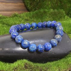 Lapis Lazuli Gemstone Healing Bracelet for Harmony and Blue Gemstones, Gemstone Colors, Natural Gemstones, Healing Bracelets, Beaded Bracelets, Lapis Lazuli Healing, Scorpio Zodiac, Taurus, Zodiac Signs