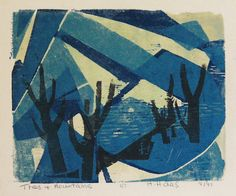 """Trees and Mountains by Hildegarde Haas  Year 1947   Technique color woodcut  Image Size 6 1/2 x 8"""" image"""