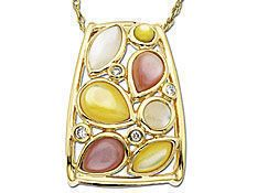 Multi-Color Mother of Pearl And Diamond Pendant In 10K Gold