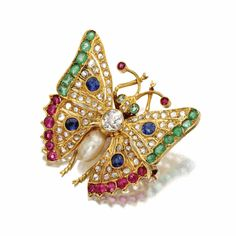 Diamond and colored stone butterfly brooch - Sotheby's