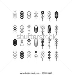 Vector line feathers and arrows, abstract geometric elements, pattern, ethnic collection, aztec icons, tribal art, for design logo, cards, backgrounds