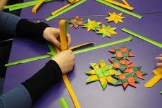Matariki star weaving at Hornby City Library, Weaving, Activities, Stars, Crocheting, Knitting Looms, Star, Soil Texture, Stricken