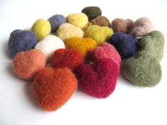 Plant dyed felt hearts 4 pieces pure wool natural by TheFeltingCat