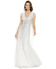 Adrianna Papell Petite Cap-Sleeve Embellished Sunburst Gown