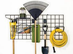 Upcycle old items into functional storage solutions for the garage.