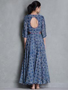 Buy Indigo Block Printed Elasticated Waist Flare Cotton Dress by Raiman Sethi Online at Jaypore.com