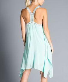 Look at this #zulilyfind! Mint Crochet-Trim Sidetail Dress #zulilyfinds